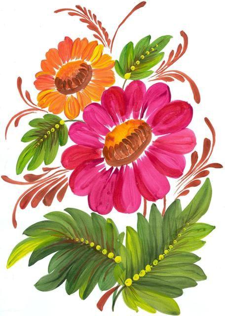 Цветы, петриковская роспись