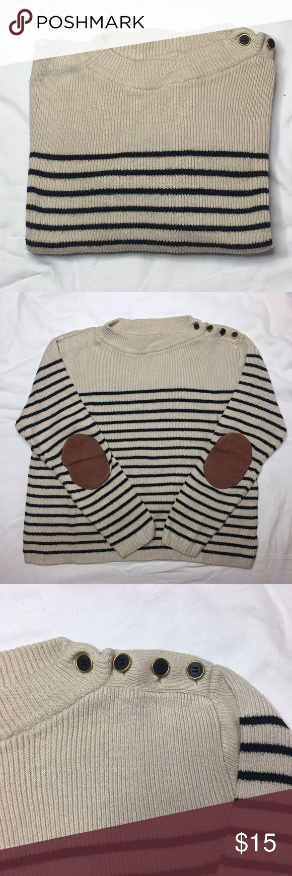 Stripped Sweater With Elbow Patches Tan sweater with black stripes and buttons, featuring brown faux suede elbow patches.                                   Size Medium                                                                              Made of Cotton/Rayon/Nylon (can't read the small numbers on the tag) Forever 21 Sweaters Crew & Scoop Necks