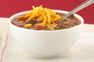Taco Soup recipe  (I sometimes put grated carrots, zucchini, or any other fresh veggies that I can hide in there, and use low fat ingredients, more beans, less meat)