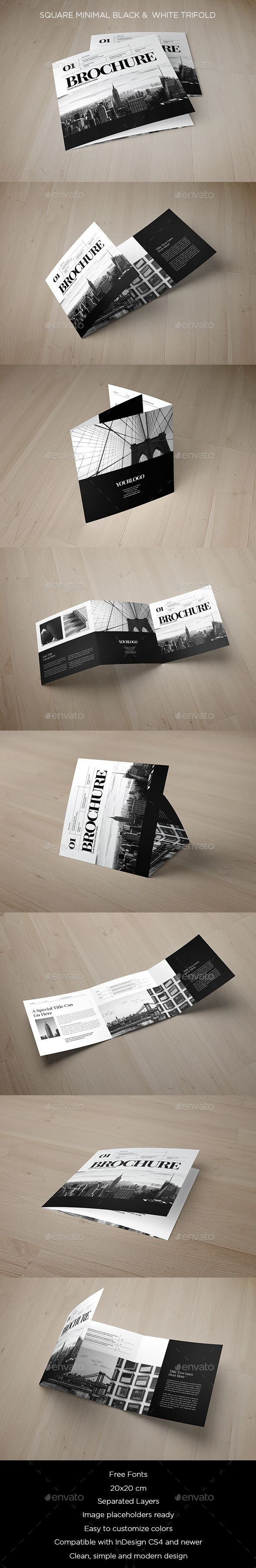Square Minimal Black & White Trifold Brochure Template InDesign INDD…