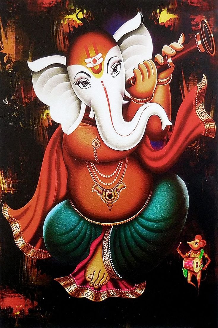 Ganesha Playing Shehnai (Reprint on Paper - Unframed)
