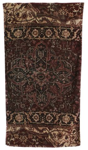 Casbah Rug Bath Towels in Eggplant and Taupe design by Fresco Towels