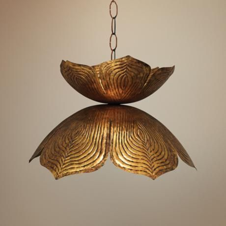 Jamie Young Flowering Lotus 20 Wide Antique Gold Pendant