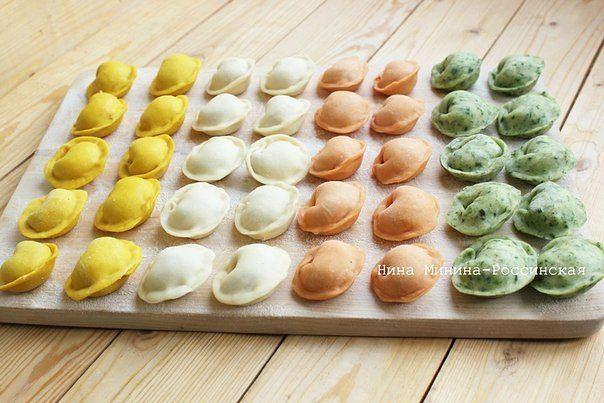 Тесто для пельменей разноцветное
