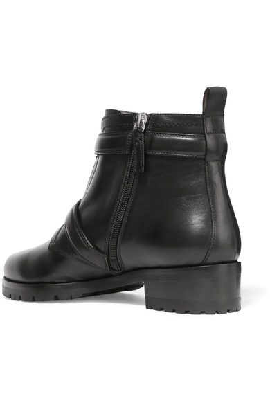 Tabitha Simmons - Aggy Buckled Leather Biker Boots - Black - IT40.5