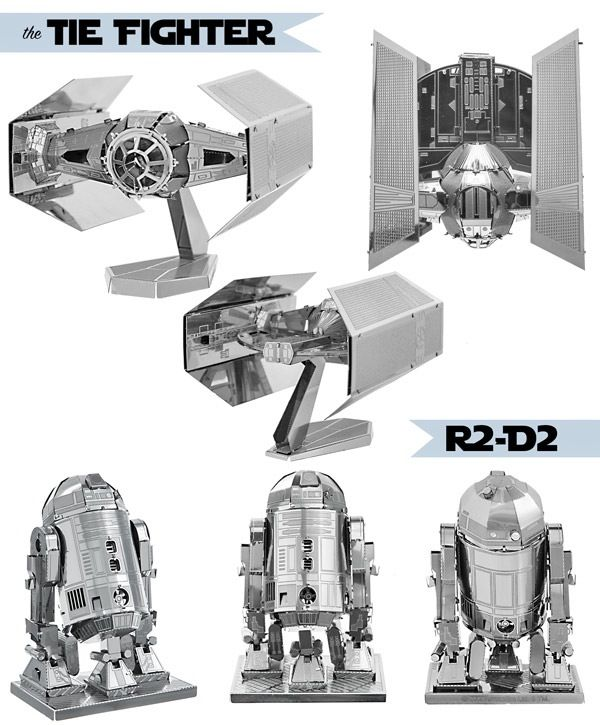 Star Wars 3D Metal Model Kits: Flat steel sheets with amazing details that you can turn into Star Wars replica models.