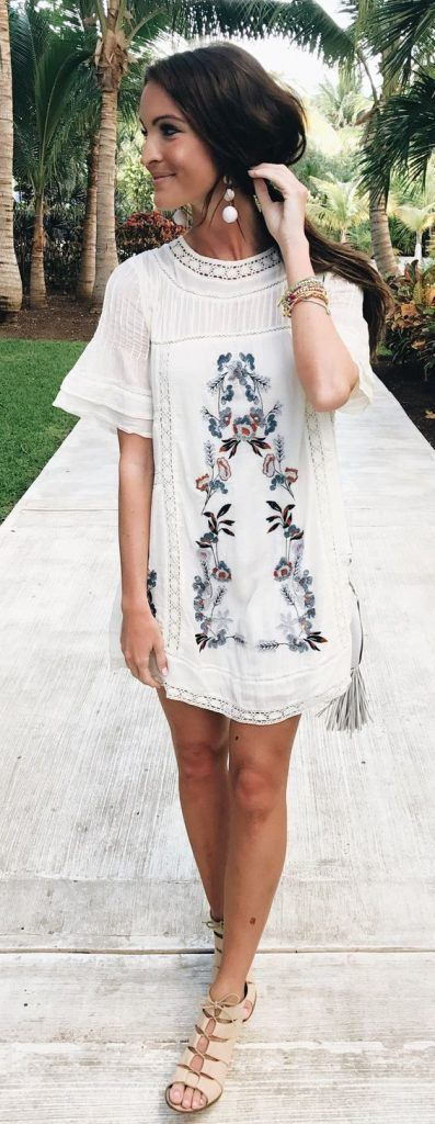 #SpringBreak #Outfits / Embroidered White Dress - Beige Sandals