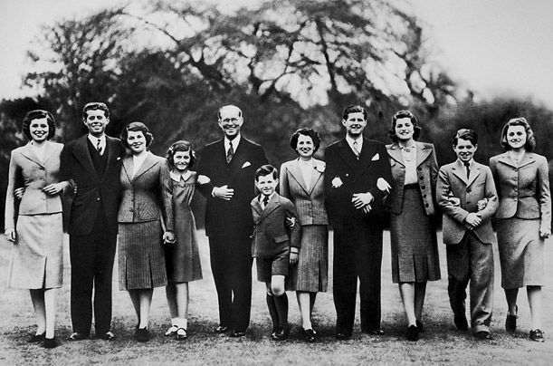 the Kennedy family; Eunice, John, Rosemary, Jean, Joseph Sr., Edward, Rose, Joseph Jr., Patricia, Robert, and Kathleen