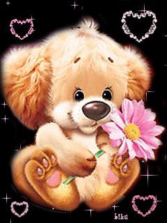 FUZZY BROWN PUPPY/PINK FLOWER