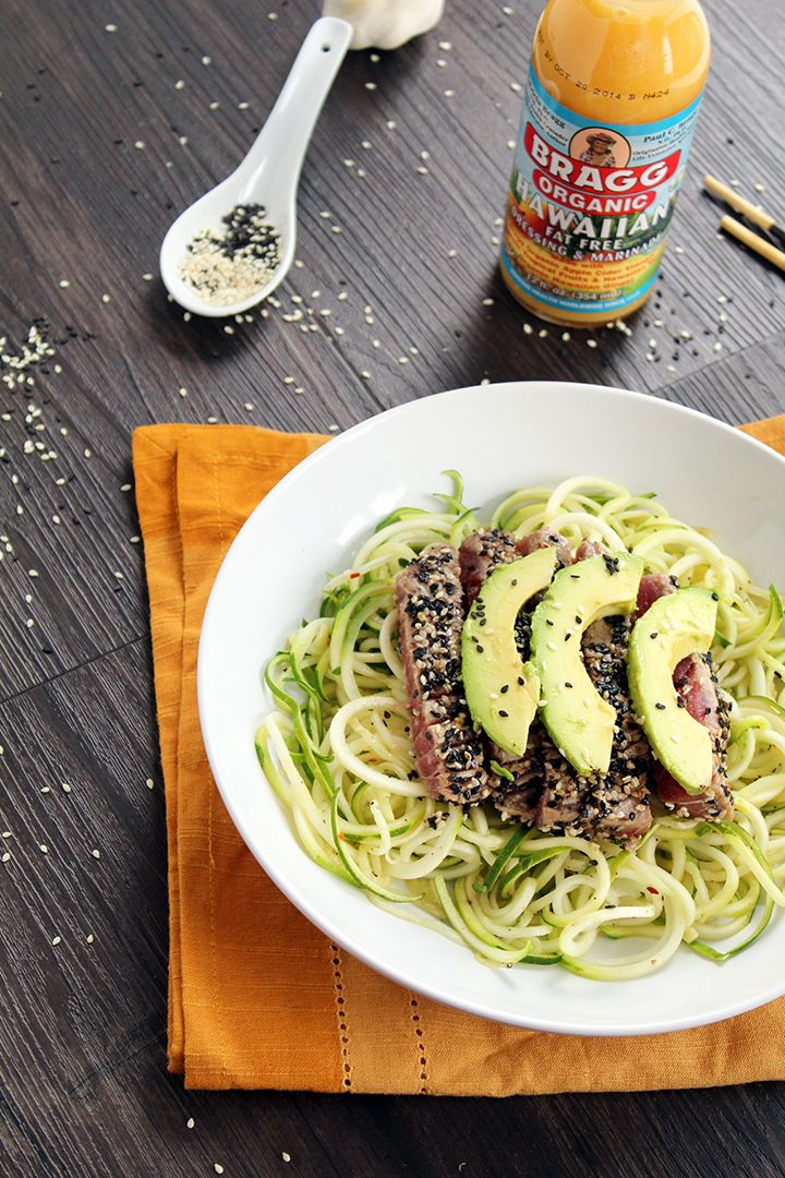 Great use for Bragg Hawaiian Dressing! Sesame Crusted Tuna & Avocado with Spicy Sesame Zucchini Noodles from Inspiralized - Full Recipe at: http://www.inspiralized.com/2013/12/15/sesame-crusted-tuna-avocado-with-spicy-sesame-zucchini-noodles/
