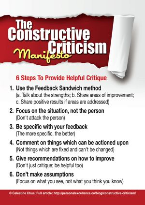 How do you provide criticism? Do you critique people in a curt and blunt manner, or are you able to provide criticism that is both useful and tactful? Here's a manifesto on how to provide constructive criticism.