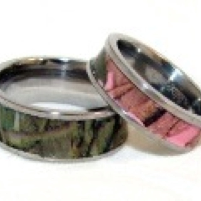 camo wedding bands i told him i want a real wedding ring but id wear one like this on the other hand lol he is dead set on wanting a camo gun - Camo Wedding Ring Sets For Him And Her