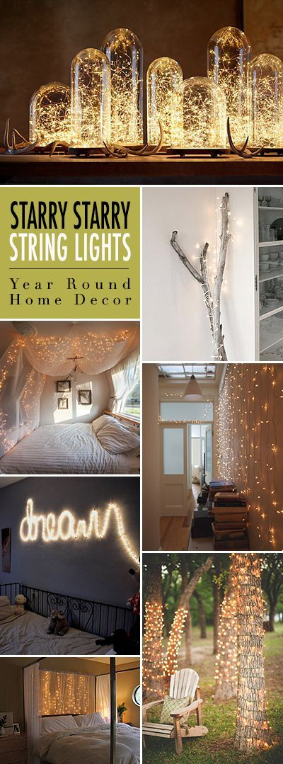 Starry Starry String Lights! • Year Round Home Decor using Christmas lights or firefly lights. • Tons of Tips and Ideas! Bedroom ideas #decor #design