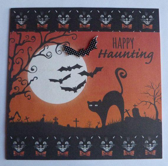 Happy Haunting Card Full Moon Card All by TheArtOfBeinAGirl #blackcatcard, #fullmooncard, #handmadehalloweencard, #handmadegothiccard