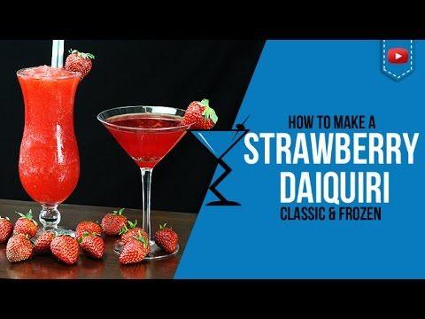 Strawberry Daiquiri Classic & Frozen  - How to make a Strawberry Daiquiri Cocktail Recipe (Popular) - http://2lazy4cook.com/strawberry-daiquiri-classic-frozen-how-to-make-a-strawberry-daiquiri-cocktail-recipe-popular/
