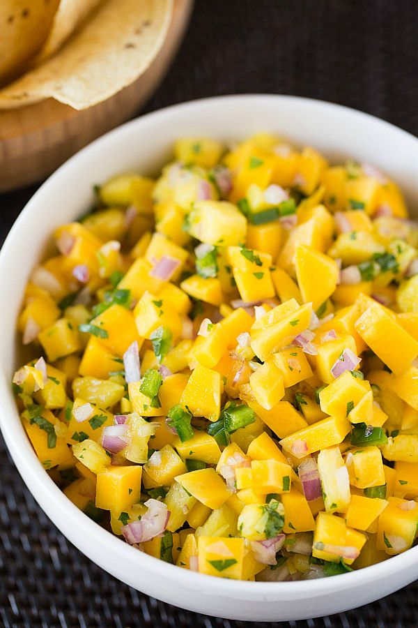Mango-Pineapple Salsa {ADD diced fresh jalapeño peppers for extra spice} | browneyedbaker.com