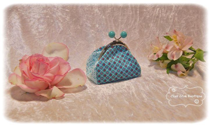 Porte Monnaie vintage dans les tons bleu turquoise : Porte-monnaie, portefeuilles par chez-elsa-boutique