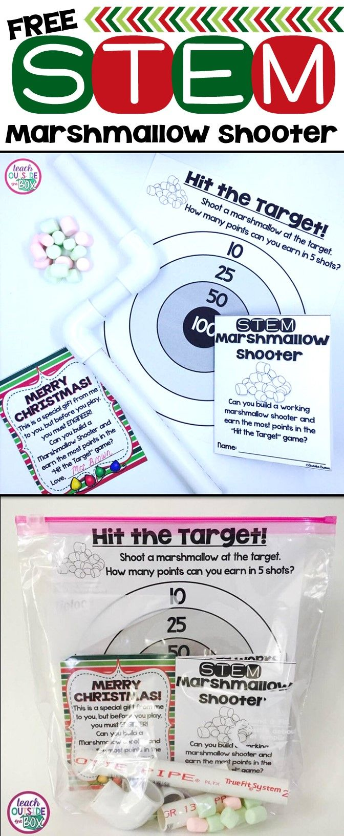 FREE STEM Challenge Marshmallow Shooter! Perfect for a holiday activity or Christmas gift for kids! via @mrsbrookebrown