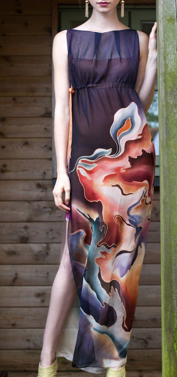 Hand Painted Multi-coloured Silk Chiffon Floaty Maxi Dress