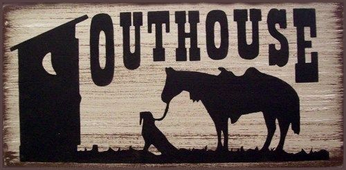 Outhouse Horse & Dog Western Primitive Rustic Distressed Country Wood Sign Home Decor by SouthernHomeSigns on Etsy