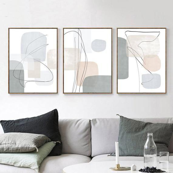 3 Piece Wall Art Downloadable Prints Geometric Poster Gray Etsy In 2021 Living Room Art Modern Living Room Art Neutral Wall Art