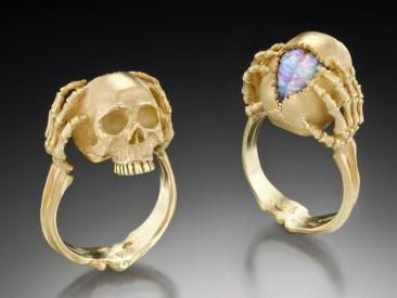 Tribute To A Genius - Skull Ring By Artist Kim Eric LilotFire Opals, Coolest Rings, Opals Brain, Gold Rings, Jewelry, Skull Rings, White Gold, Gold Skull, Australian Fire