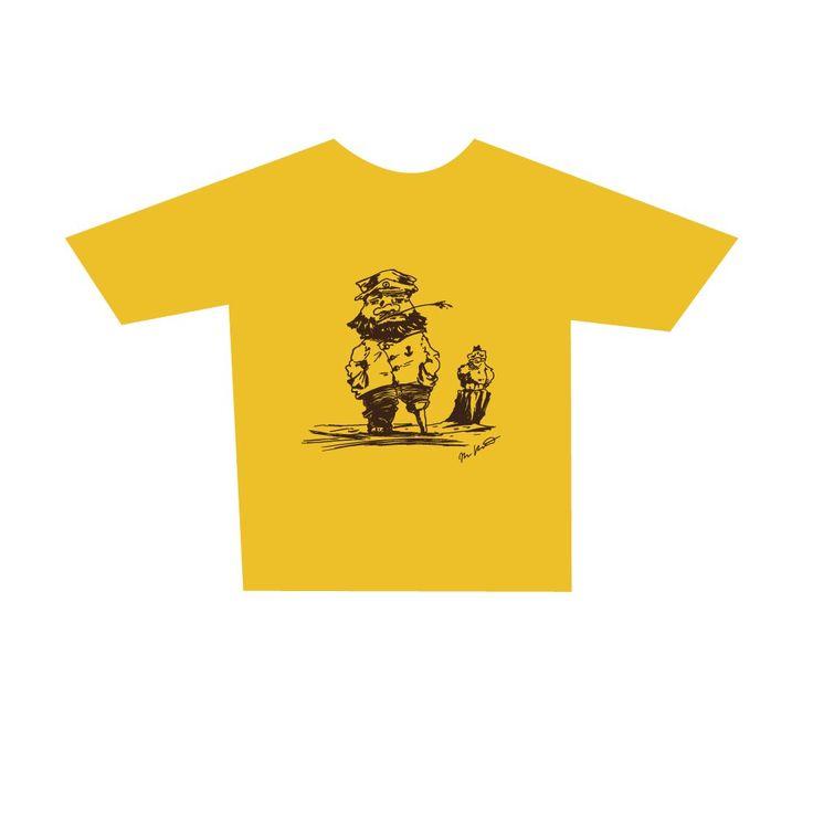 Childrens Master Mariner T-Shirt, yellow. Buy form Holvi webstore. #t-shirt #mariner #captain #sea #seagul #mastermariner
