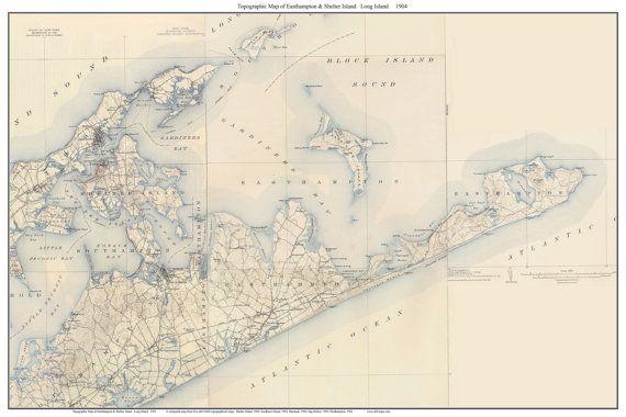 East Hampton & Shelter Island, Long Island, New York  - 1904 USGS Old Topographic Map Custom Composite  Reprint
