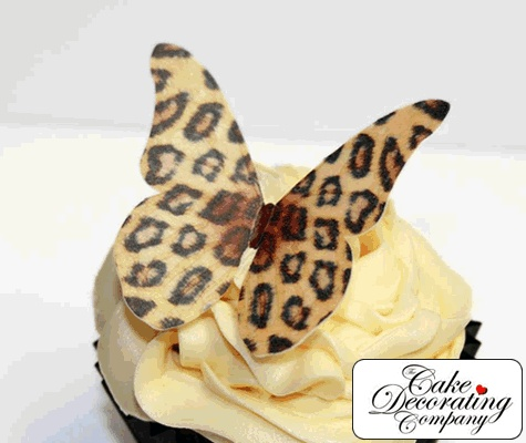 Leopard print edible butterfly topper pack of 12 for Animal print edible cake decoration