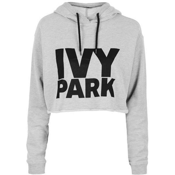 Cropped Logo Detailed Hoodie by Ivy Park ($41) ❤ liked on Polyvore featuring tops, hoodies, white hoodies, hooded sweatshirt, white crop top, logo hoodies and white hoodie