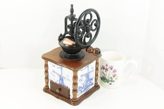 Vintage Hand Crank Coffee Grinder with Dutch Windmill Theme on the Base