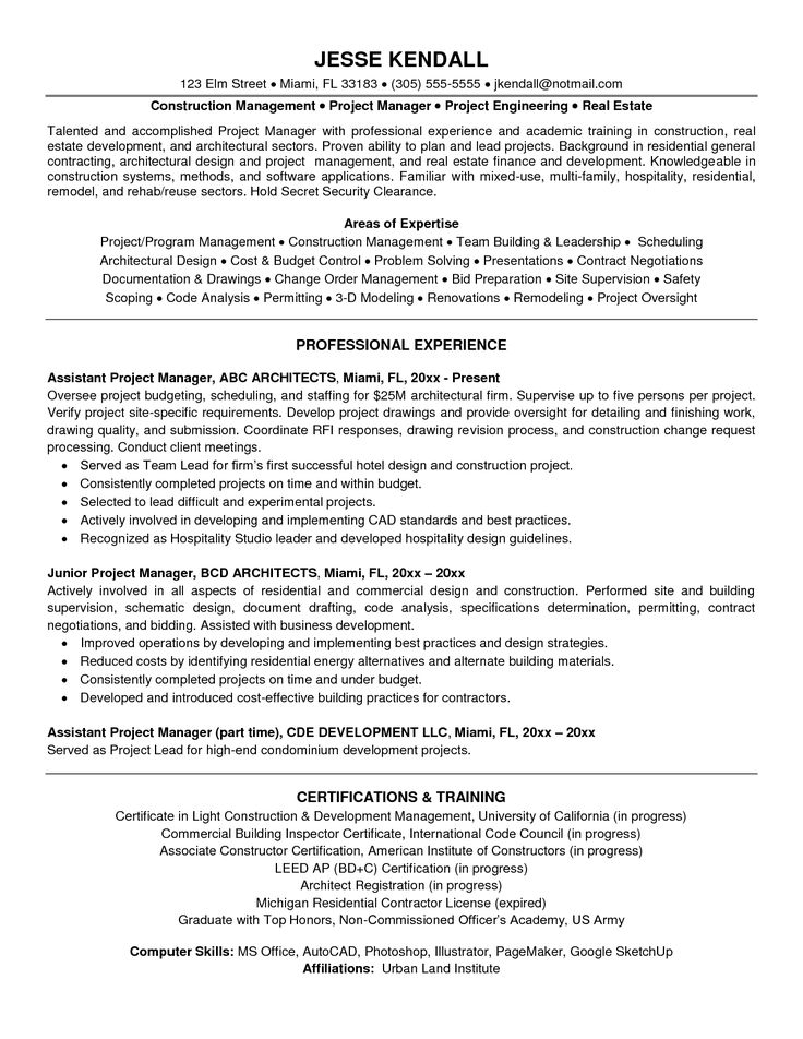Manager Resume Template Construction Project Manager Resume
