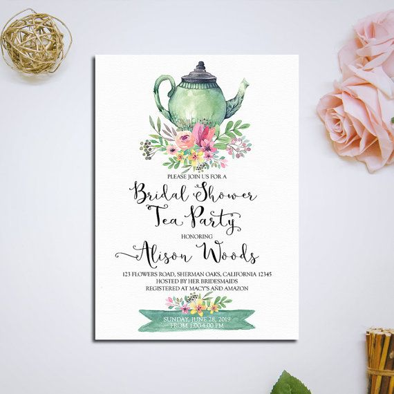 Bridal Shower Tea Party Invitation by HappyLifePrintables on Etsy