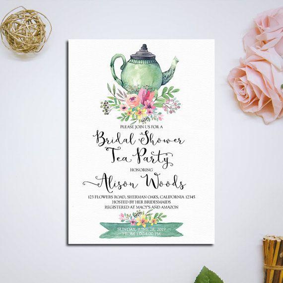bridal shower tea party invitation printable bridal tea party