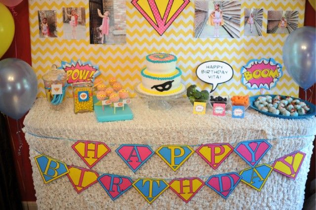 Cutest birthday party ever. Vintage super girl super hero party printables-08