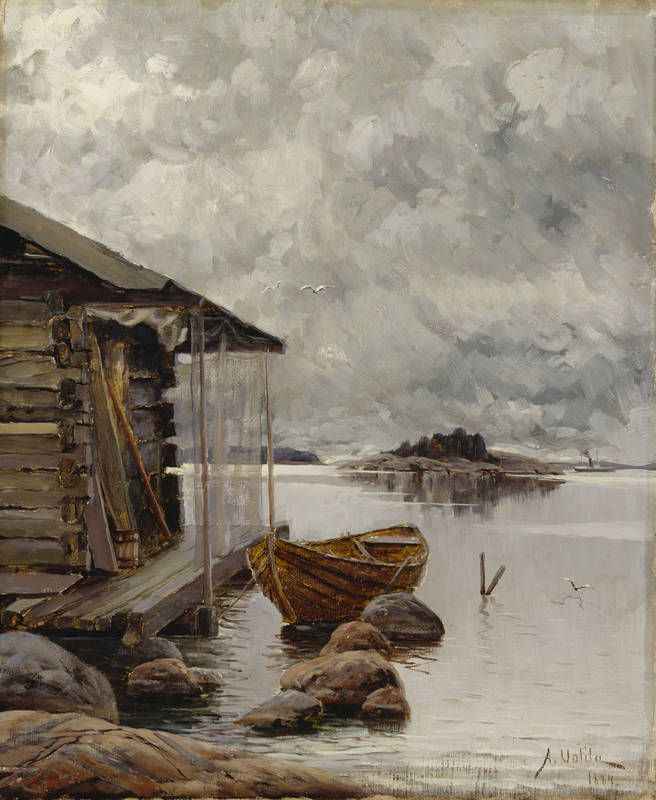Aukusti Uotila, Boat House - Nuottakota -1884, oil on canvas, Valtion taidemuseo
