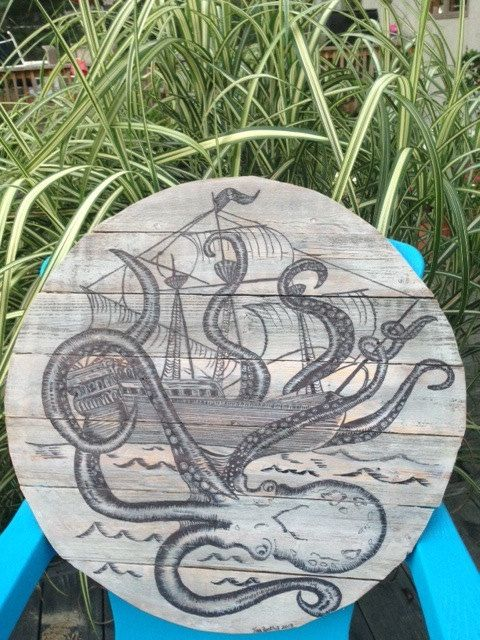 Octopus Sinking a Ship Ink Drawing on Reclaimed by SignsOftheSea