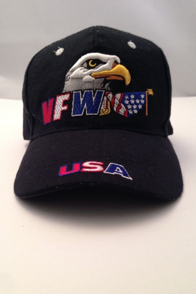VFW Veterans Of Foreign Wars USA Bald Eagle Black Hat Cap Velcro One Size