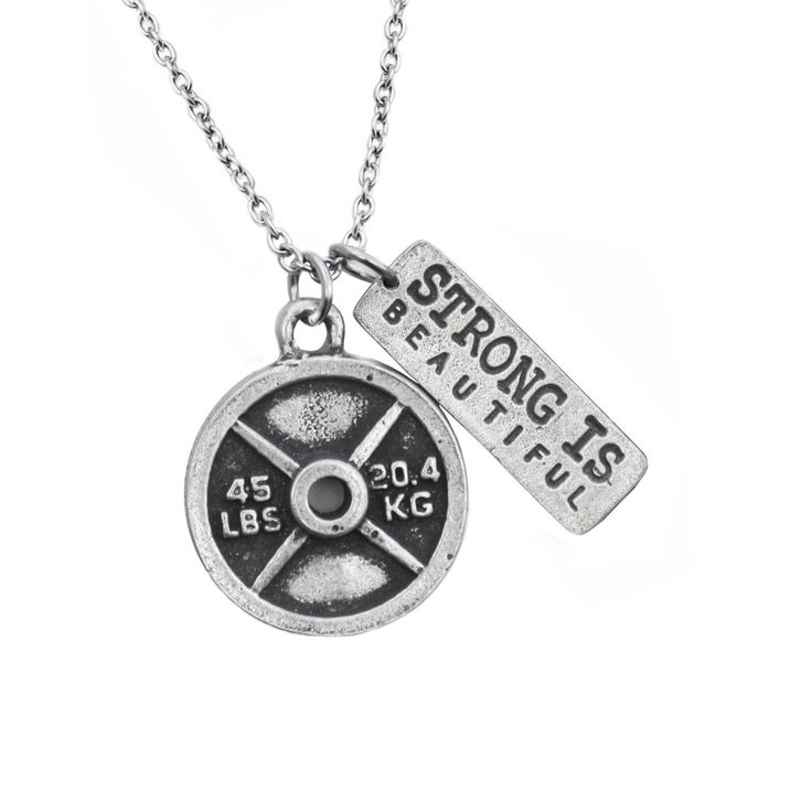 45lb Weight Plate with Strong Is Beautiful Necklace from Fashletics. All jewelry here is hand made - and for only $35! #strong #beautiful #crossfit