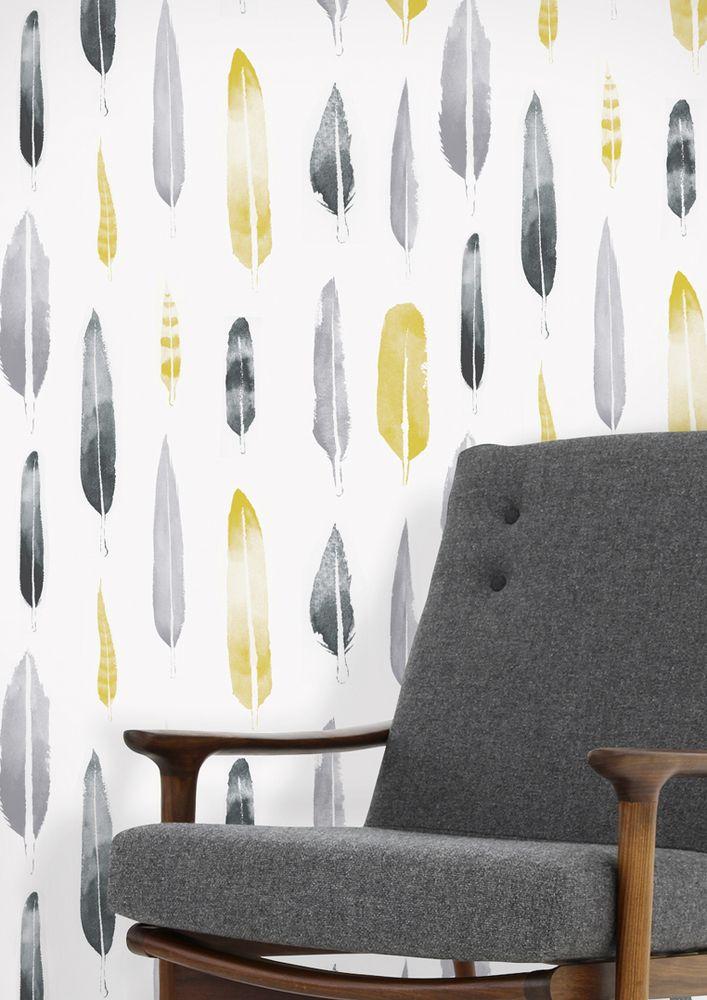 Mini Moderns | Feathers wallpaper - Mustard http://minimoderns.bigcartel.com/product/feathers-wallpaper-mustard
