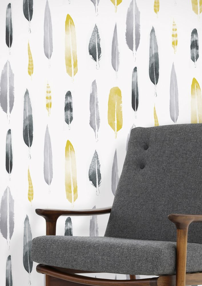 Mid century style sofas from FADS and wallpaper from mini moderns including a Rob Ryan design and this Feathers Wallpaper in grey and yellow.