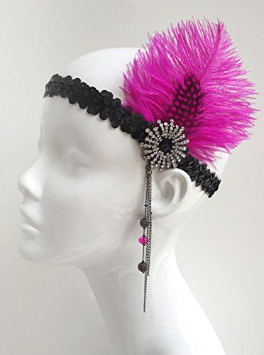 Fuchsia Pink and Black Gatsby Flapper Headband 1920s Flapper Headband with Feathers *** Click image to review more details.(This is an Amazon affiliate link and I receive a commission for the sales)