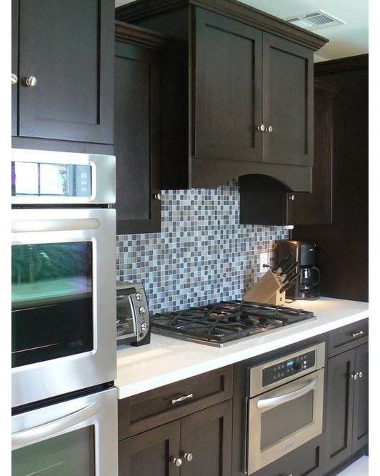 159 best interior design images on pinterest for Brown kitchen cabinets with black appliances