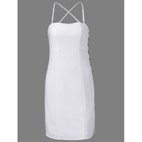 Stylish Spaghetti Straps Fastener White Dress For Women #CLICK! #clothing, #shoes, #jewelry, #women, #men, #hats, #watches