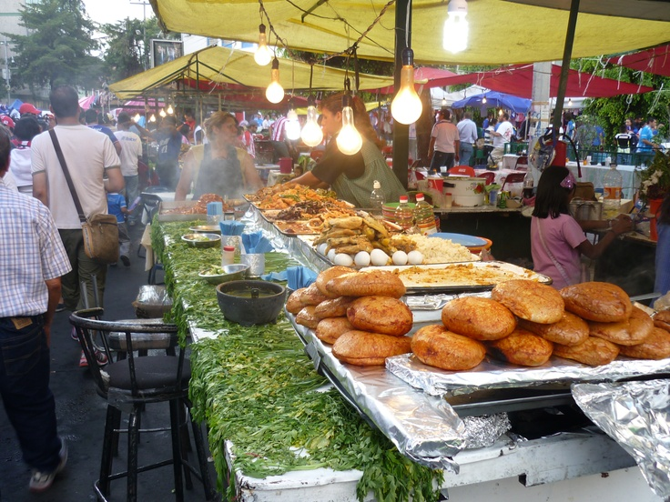 One of the many food stalls outside Estadio Azul in Mexico City.