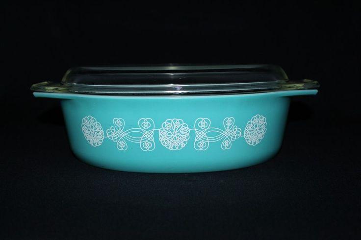 Rare Vintage Pyrex WHITE LACE MEDALLION Turquoise Aqua Glass Casserole Dish | Pottery & Glass, Glass, Glassware | eBay!
