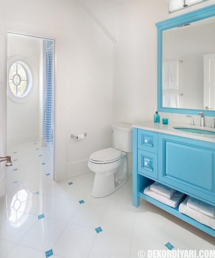 Kare Banyo Seramik Fayans Örnekleri Turkuaz Banyo Dolabı Örnekleri Ayna Fikirleri