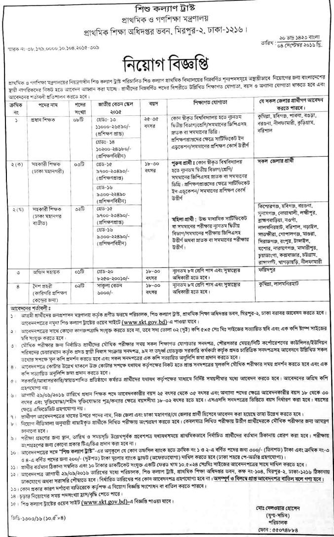 Govt Primary School Teacher Jobs Written Exam 2016