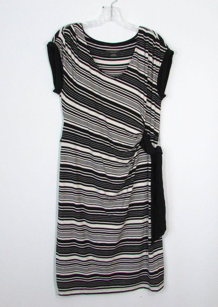 810b5d331e974 Womens LIZ LANGE Ivory Black Stripe Ruched Waist Wrap Maternity Dress Size  XL #LizLange #WrapDress #CasualWeartoWork