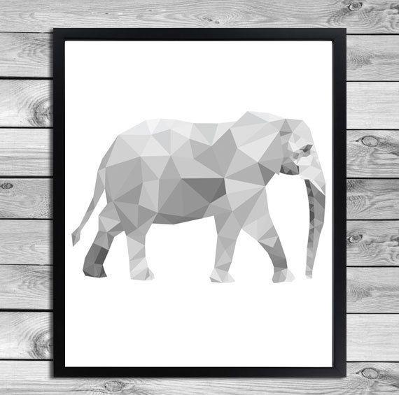 Geometrical Animal Print in black and white - Elephant